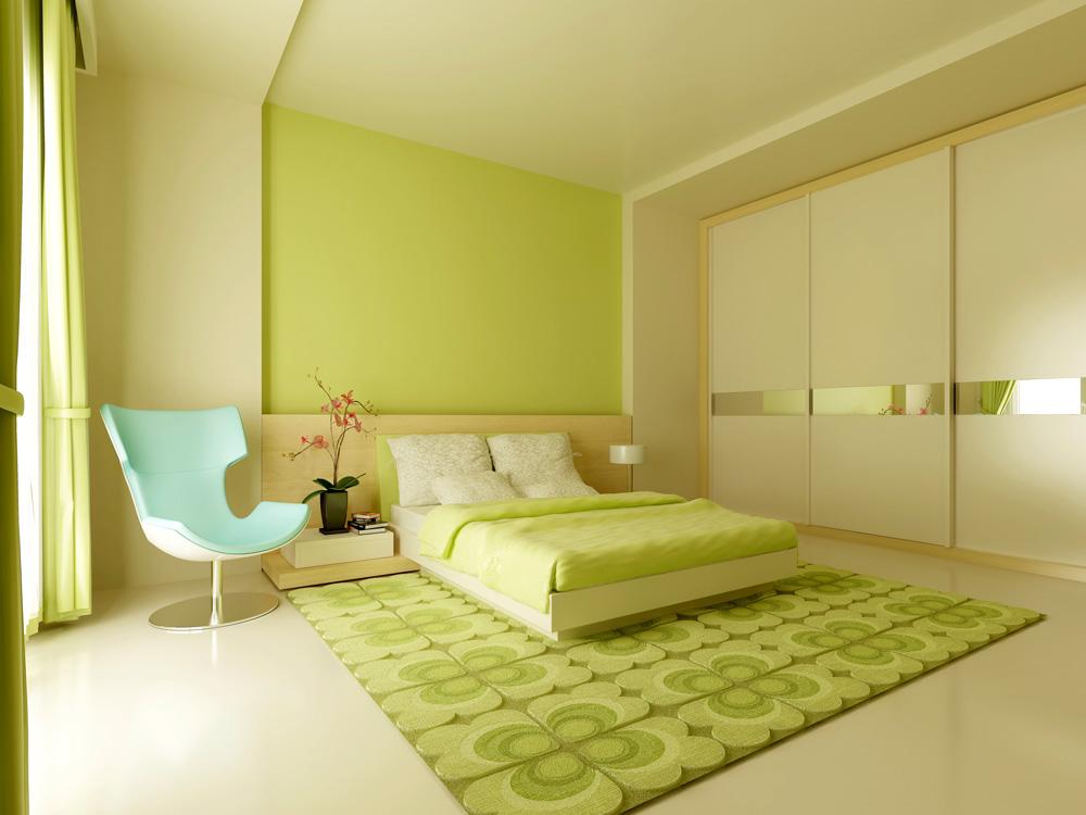 Màu xanh lá cây phối với màu trắng đem lại cảm giác thiên nhiên, tươi mát cho phòng ngủ