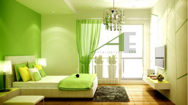 Phòng ngủ màu xanh lá cây nói lên một sự trẻ trung đầy cá tính của bạn