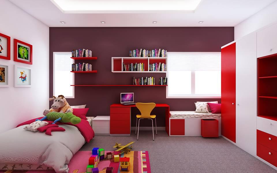 Sơn màu đỏ trong trang trí phòng trẻ giúp bé nhà bạn thêm nặng động và trẻ trung hơn